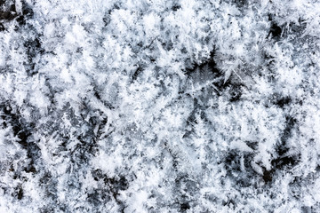 White ice crystals and snowflakes on a black background