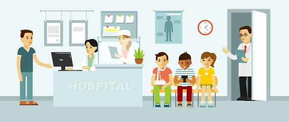 Medicine concept with doctor and patients in flat style on hospital hall background