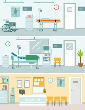Set of medicine concepts with empty hospital rooms in flat style