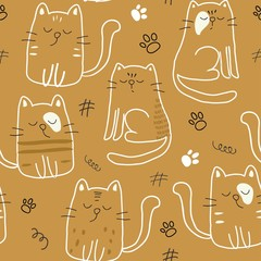 seamless pattern with cute cats. vector illustration for textile,fabric.