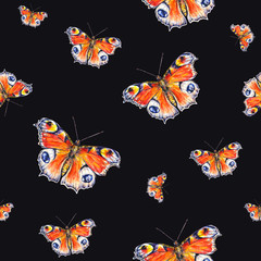 Peacock butterflies on a black background. Watercolor drawing. Insects art. Handwork. Seamless pattern