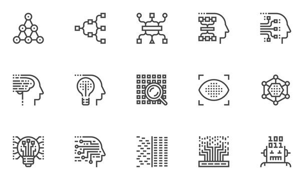 Machine Learning Vector Line Icons Set. Deep Learning, Genetic Algorithm, Neural Network, Machine Vision. Editable Stroke. 48x48 Pixel Perfect.