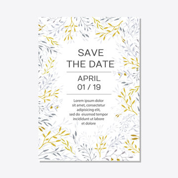 Romantic tender floral design for wedding invitation