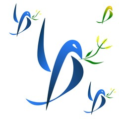 Logo dove with mimosa flowers.A vector drawing represents dove logo design with mimosa, flowers. Dove blue and green.