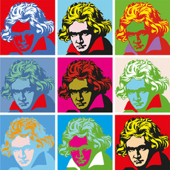 Tuinposter Pop Art Portrait of Beethoven Portraits of famous historical figure