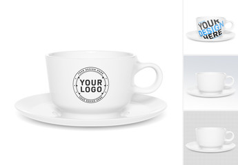 Ceramic Cup Isolated on White Mockup