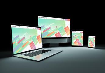 4 Devices in Dark Mockup