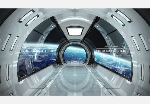 Rounded Spaceship Window Mockup
