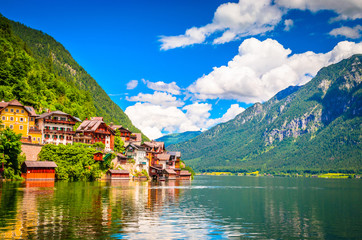 Wall Mural - Fantastic view on Hallstatt village and alpine lake, Austrian Alps,  Salzkammergut, Austria, Europe