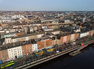Bachelor's Walk and Dublin city centre aerial view. Ireland. February 2019