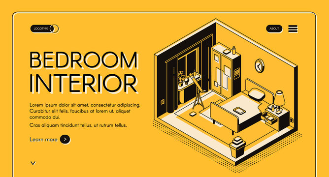 Interior design atelier, furniture online store isometric vector web banner or landing page. Bedroom cross section interior with wardrobe, single bed and telescope near window line art illustration