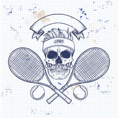 Skull with tennis racquets