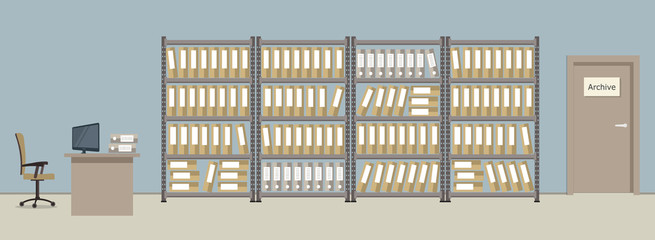 Archive. The room for storage of documents. The workplace of the archivist. There are shelves with folders, a desk, a computer, a chair and other objects in the picture. Vector illustration