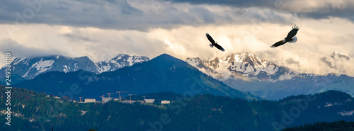 Wall mural Aerial view of Alps mountains at sunset, Switzerland