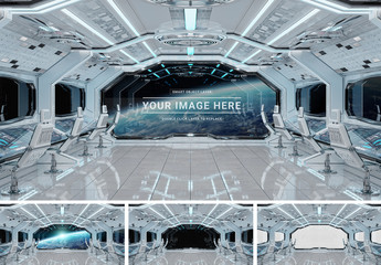 White Spaceship Window Mockup