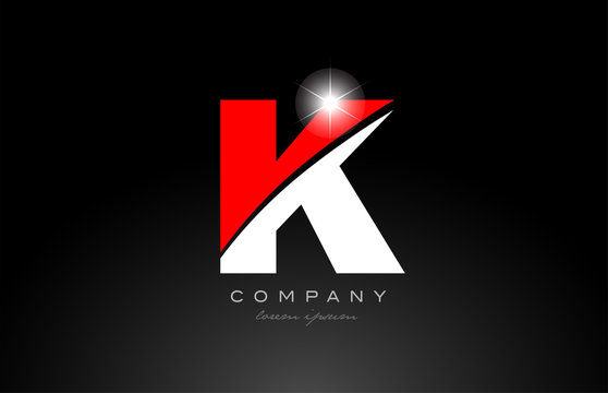 red white color letter k alphabet for logo icon design