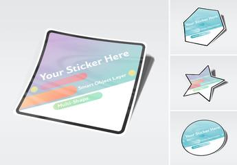 Isolated Multi-Shaped Sticker Mockup
