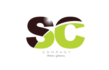 letter sc s c alphabet combination in green and brown color for logo icon design