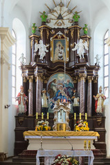 Altar in a Catholic Church in Belarus. There is some digital noise, shot at high ISO