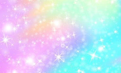 Unicorn rainbow background. Holographic sky