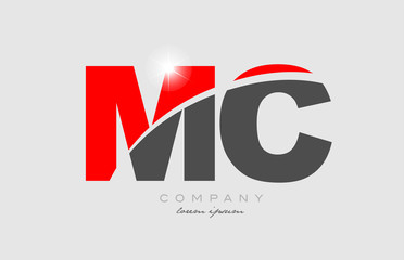 combination letter mc m c in grey red color alphabet for logo icon design