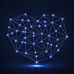 Abstract neon geometric heart of lines and dot, glowing polygonal shape. Valentine s day background