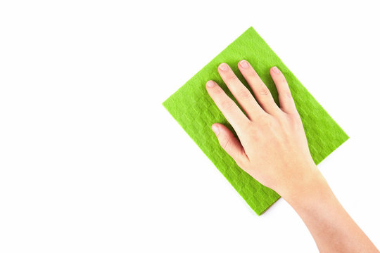hand holding a sponge isolated