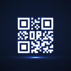 Qr code neon icon. Glowing logo, barcode identification
