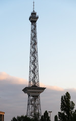 Berlin Funkturm Radio Tower, former broadcasting tower with steel framework has restaurant and...