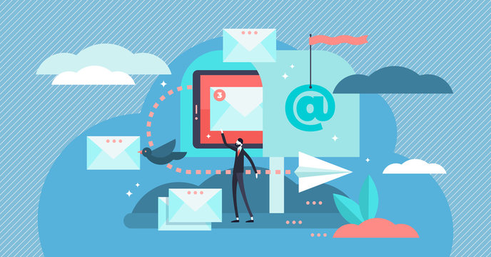 Email vector illustration. Flat tiny digital letter sending persons concept