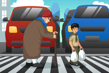 Boy Helping Old Lady Crossing Street Illustration