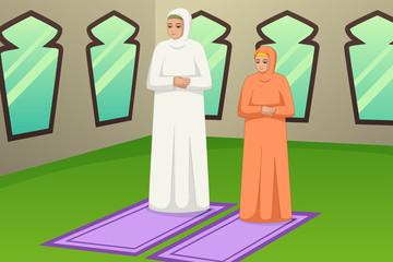 Muslim Mother and Daughter Praying Illustration