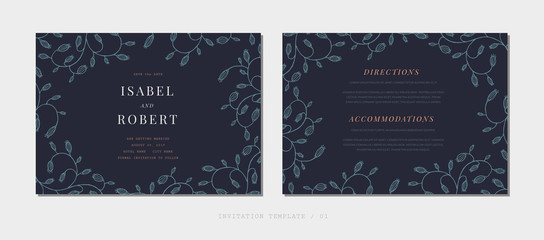 Elegant template for wedding invitation. Hand-drawing of beautiful rustic curved plants on a dark background. rsvp modern card.  Vector flower illustration.