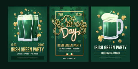 """Set of festive posters with symbols of  Irish holiday on a green background. Three beer glasses with golden clover, the inscription: """"St. Patrick's Day"""" and beer mug with foam. Holiday illustration."""