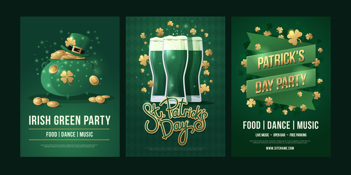 """Large set of posters with symbols of Irish holiday on green background. Green pot and Leprechaun hat with gold coins, the inscription: """"St. Patrick's Day"""", three beer glasses. Vector illustration."""
