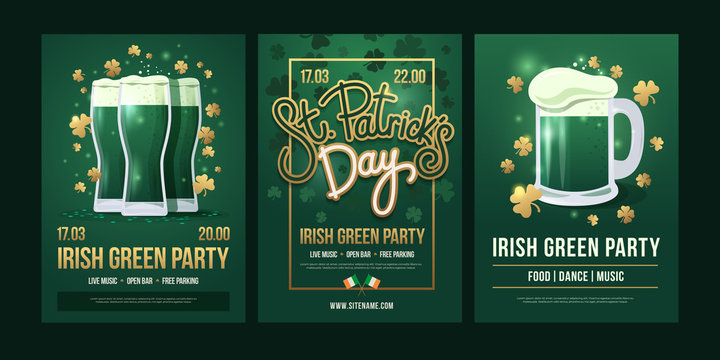 "Set of festive posters with symbols of  Irish holiday on a green background. Three beer glasses with golden clover, the inscription: ""St. Patrick's Day"" and beer mug with foam. Holiday illustration."