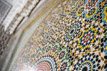 Colorful Ancient style mosaic in interior elements. Abstract geometry, vintage pattern