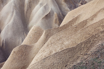 Background from Sand dunes landscape,Volcanic rock formations, Cappadocia.