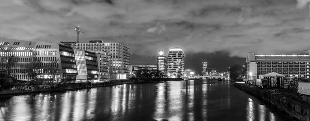 Berlin night cityscape buildings river view