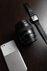 mobile telephone, photo lens and watch
