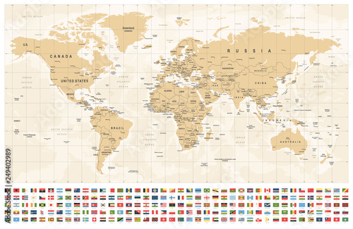 World Map and Flags - borders, countries and cities - vintage ...