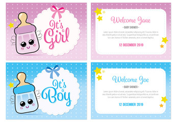 Baby Shower Card Layout with Illustrations