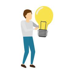 businessman holding light bulb creativity