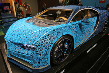 A Bugatti Chiron car made out of LEGO Technic blocks is displayed at the Canadian International AutoShow in Toronto
