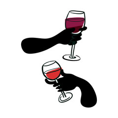 Dark glove hands holding wine glasses