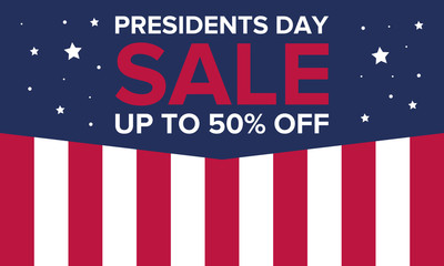 Happy Presidents day in United States. Washington's Birthday. Shopping sale banner, poster or background. Traditional federal holiday in America. Celebrated in February.