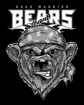 Bear biker, motorcycle animal. Hand drawn image for tattoo, emblem, badge, logo, t-shirt