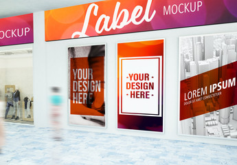 Multiple Advertisements in Mall Mockup