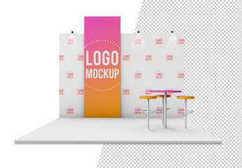 Kiosk with Banner and Background Mockup