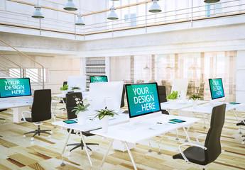 Office with Smartphones and Desktop Computers Mockup